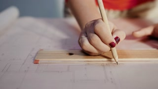 6 Architect Student Draws Lines On Plan With Rule