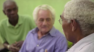Active retired elderly people and free time, group of happy senior african american and caucasian male friends talking and sitting on bench in park. Sequence