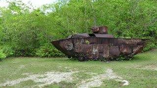 American tank, US armored vehicle in jungle. Battle of Peleliu, Palau (Operation Stalemate II) fought between the United States and the Empire of Japan in the Pacific Theater of World War II in 1944