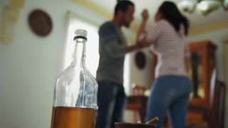 Angry Husband Fighting With Wife At Home Domestic Violence