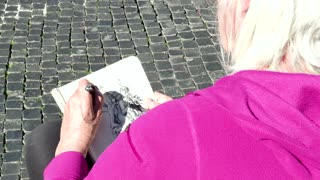 Artist Woman Painting Drawing Fountain Monument Piazza Navona Rome Italy