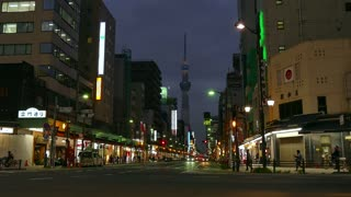 Asakusa district with Skytree tower, Tokyo, Japan, Asia. Modern building, monument, landmark, neon lights. Asian and Japanese urban landscape, metropolitan design architecture, cars and traffic