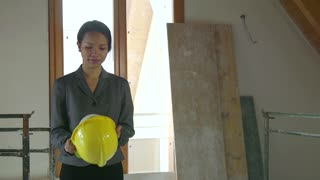 Asian Woman Portrait Engineer Architect In Construction Site New Building