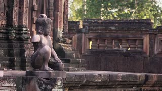 Banteay Srey or Banteay Srey, hindu temple in Angkor area, Siem Reap, Cambodia, Asia. Sequence