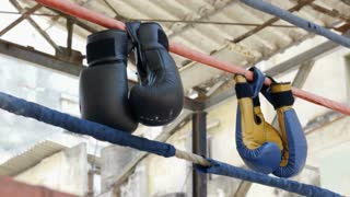 Boxing gloves and ring in fitness gym boxe combat sports