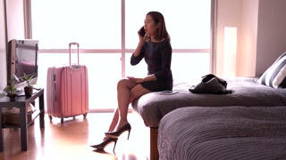 Businesswoman Woman Talking On Phone In Hotel Room Business Travel