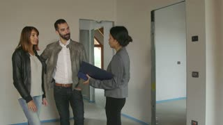 Businesswoman Woman Working As Architect Clients Customers In New Apartment