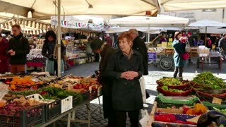Campo De' Fiori Traditional Market With People Shopping Rome Italy