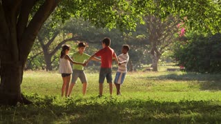 Children playing, dancing, young people, summer fun, friends, group