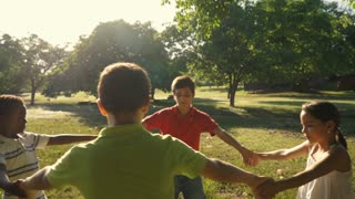 Children playing in park, happy young people, kids, friends