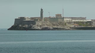 City view of Havana and Caribbean sea, Cuba. Morro castle, monument