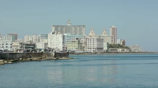City view of Havana and Caribbean sea, Cuba. Sequence