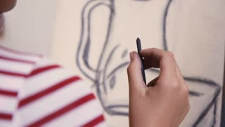 Close Up Of Female Hand Drawing Young Woman Sketching Artist Training