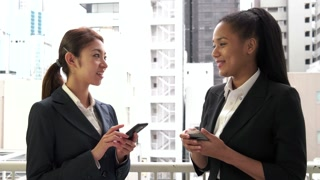 Colleagues Workers Happy Girls Women Talking At Work Smiling Business