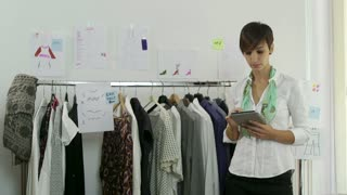 Confident Happy Business Woman Businesswoman Manager Working With Ipad