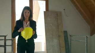 Confident Woman Portrait Engineer Architect In Construction Site New House