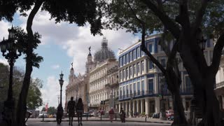 Cuba Havana Architecture With Hotels Buildings People Tourists Walking