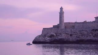 Cuba, Havana, El Morro castle, lighthouse, boat, Caribbean sea