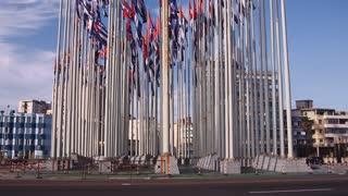 Cuba, La Habana, Havana, flags near US embassy