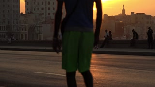 Cuba La Habana Havana Malecon At Sunset With People And Old Cars 4K