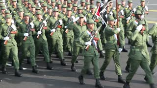Cuban army soldiers march in parade commemorating the 50th anniversary of the Bay of Pigs, April 17, 2011, Havana, Cuba. With native sound