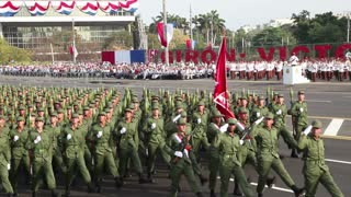 Cuban army soldiers marching in military parade on the 50th anniversary celebration of the Bay of Pigs, April 17, 2011, Havana, Cuba. With native sound