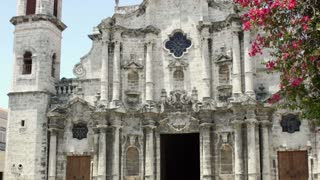 Details of Havana, Cuba. View of the baroque cathedral