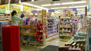 Drugstore in Shinkyogoku Shopping Street in Kyoto, Japan, Asia. Japanese people, tourists, crowd shopping in shops and stores