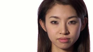 Emotions Serious Sad Depressed Asian Japanese Woman Looking At Camera