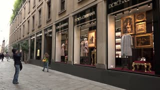 Fashion District Dolce Gabbana Shop Store Tourists Milan Milano Italy