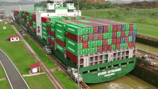 Freighter Boat Ship Containers Global Commerce Worldwide Panama Canal