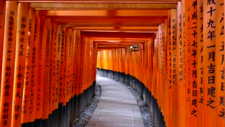 Fushimi Inari Shrine or Fushimi Inari Taisha, a Shinto shrine in southern Kyoto, Japan, Asia. Japanese monument, Asian landmark famous for its thousands of vermilion torii gates