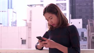 Girl Chinese Asian Woman Texting Message On Mobile Telephone Smartphone