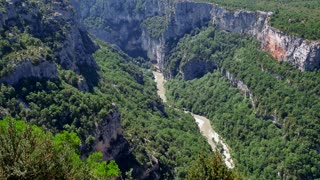 Gorges du Verdon (Verdon Gorge) seen from Chalet de La Maline in southern France. View of beautiful French natural landscape with canyon, mountain, crystal clear waters, scenery