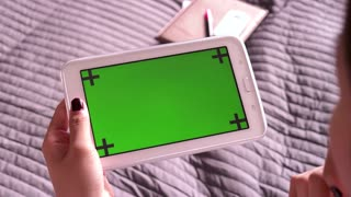 Green Screen Monitor On Ipad Tablet Technology Internet Email Woman