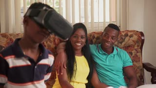 Happy Black Family Playing With Virtual Reality Goggles Vr Headset