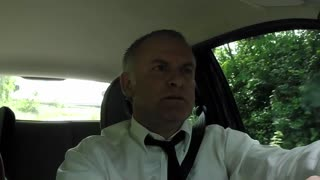 Happy Man Businessman People Driving Car Driver Singing Song Tune