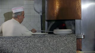 Happy Man Chef Cooking Pizza Restaurant Kitchen People Pizzamaker Oven