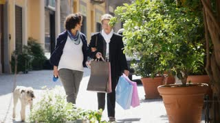 Happy people, grandmother, woman, mother with pregnant daughter shopping.mov