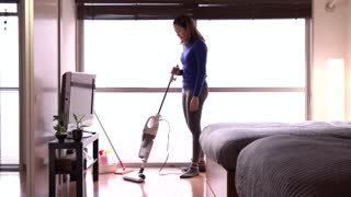 Housewife Maid Asian Housemaid Doing Chores Working Cleaning Bedroom Floor