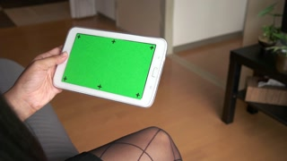 Ipad Tablet Green Screen Monitor Black Businesswoman Business Woman Working