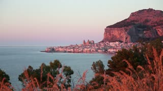 Italy, Italia, Sicily, Sicilia travel, people and city. View of Cefalu', Cefalu, famous town on Mediterranean sea
