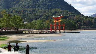 Itsukushima Shrine, a UNESCO World Heritage Site popularly known as Miyajima, in the sea near Hiroshima, Japan, Asia. Japanese landmark, art, tourist attraction, monument