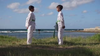 Kids Training At Karate School For Sport Activity Leisure Fun