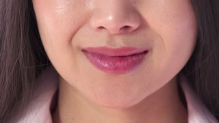 Kiss Close-up Of Mouth Beautiful Happy Asian Woman Kissing Smiling