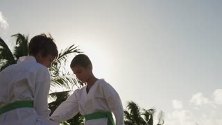 Lesson Of Karate With Kids Practicing For Sports Activities Recreation