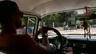 Man Driving Old Car Vintage Taxi City Traffic Havana Cuba