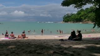 Manuel Antonio National Park Costa Rica People Swimming On Beach