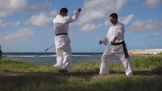 Men Kicking Punching Fighting During Combat Sport Karate Simulation