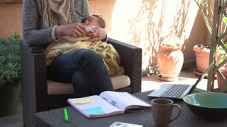 Busy business woman and newborn baby, happy multitasking mom working with infant, mother holding son at home, talking on the phone, manager on telephone. Child sleeping, taking nap. Family, maternity